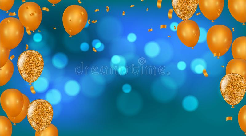 Happy birthday greeting card party invitation with realistic flying helium for shop and sale banners, grand opening, party flyer. Eps stock illustration