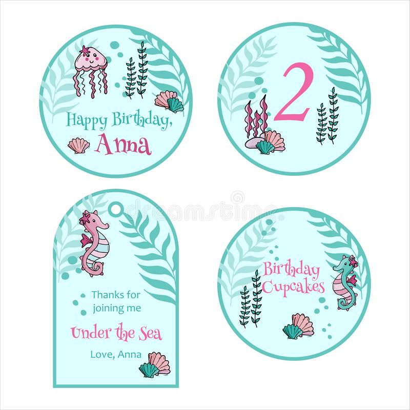 Happy birthday greeting card and party invitation templates. vector illustration