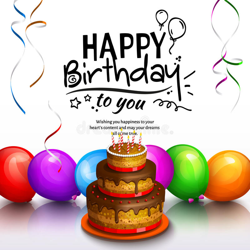 Happy birthday greeting card. Party multicolored balloons, cake, streamers and stilish lettering. Vector. vector illustration