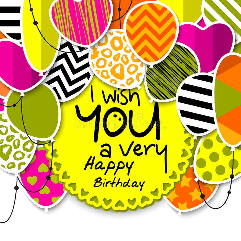 Happy Birthday Greeting Card. Patterned Balloons With