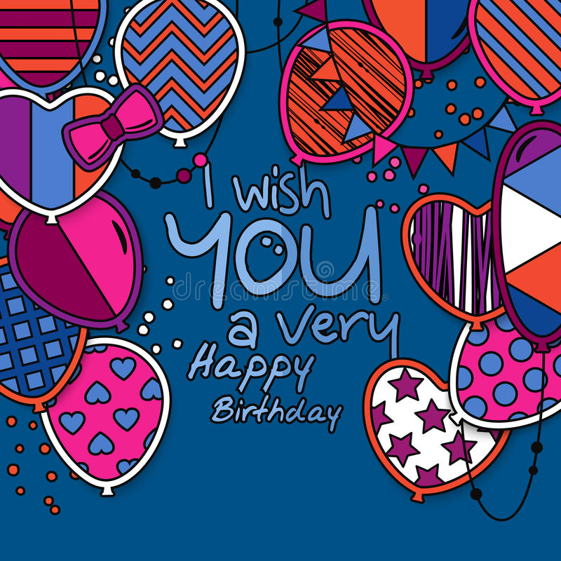 Happy birthday greeting card. Patterned balloons with stars, polka dots, hearts, leopard, chevrons, stripes. Colorful vector illustration