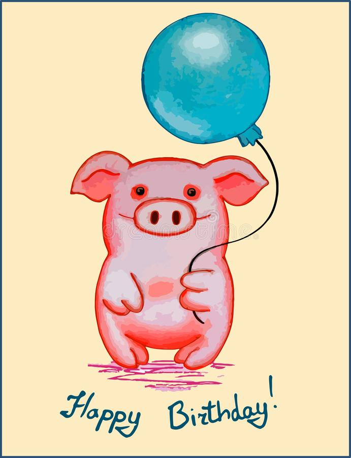 Happy Birthday greeting card with a pig character royalty free illustration