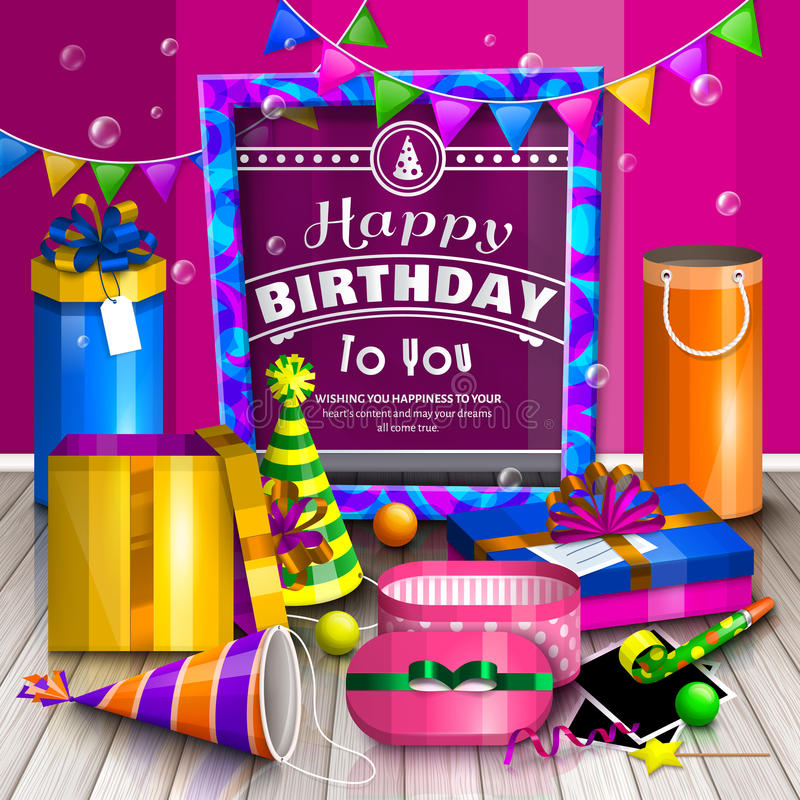 Happy birthday greeting card. Pile of colorful wrapped gift boxes. Lots of presents. Party hats, photo frames, soap stock illustration