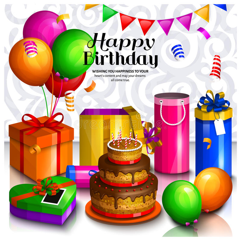 Happy birthday greeting card. Pile of colorful wrapped gift boxes. Lots of presents and toys. Party balloons, bunting vector illustration