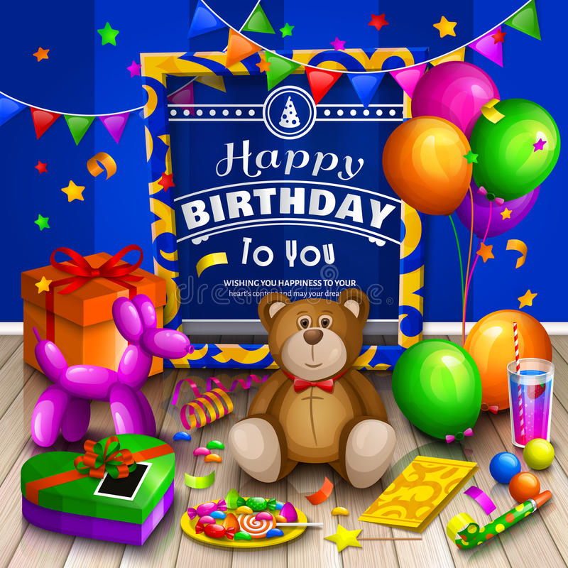 Happy birthday greeting card. Pile of colorful wrapped gift boxes. Lots of presents and toys. Party balloons, teddy bear stock illustration