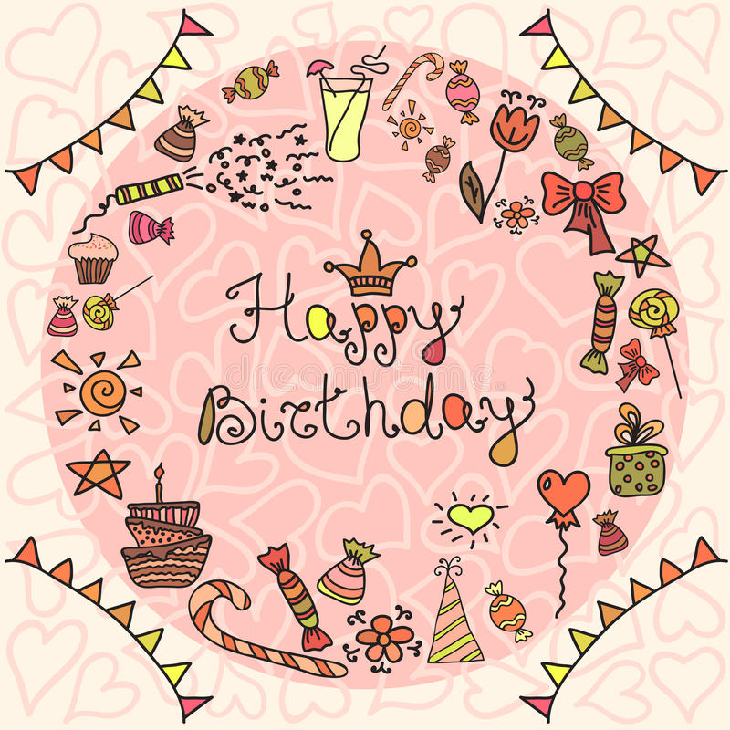 Happy Birthday greeting card. On pink background. Vector illustration royalty free illustration