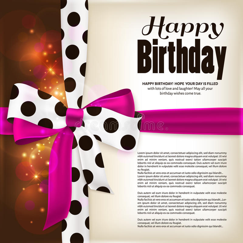 Happy birthday greeting card. Pink bow and ribbon with black polka dots made from silk. Lights, sparkles on brown stock illustration