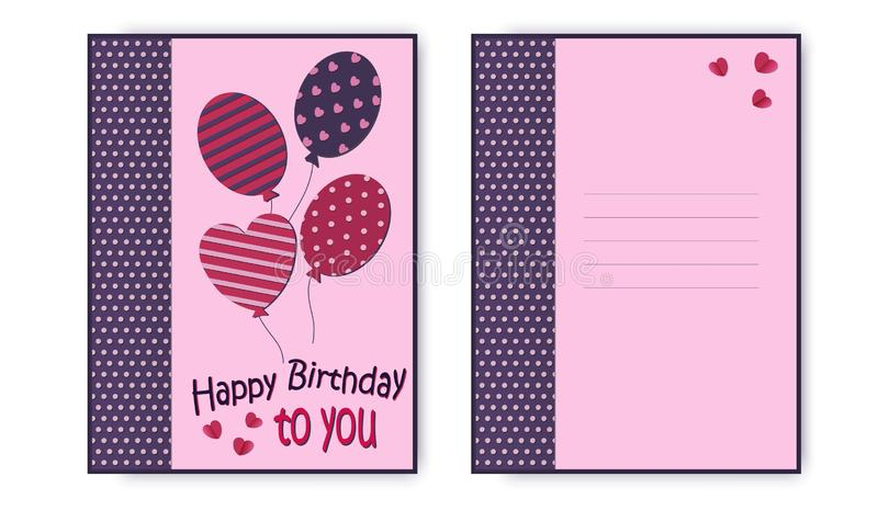 Happy birthday greeting card in pink colors, with balloons and an inscription. Vector vector illustration