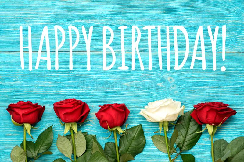Happy birthday greeting card with roses stock photo