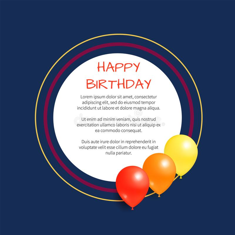 Happy Birthday Greeting Card Round Frame Balloon. Happy birthday greeting card with round frame, place for text, decorated by helium balloons, congratulations stock illustration