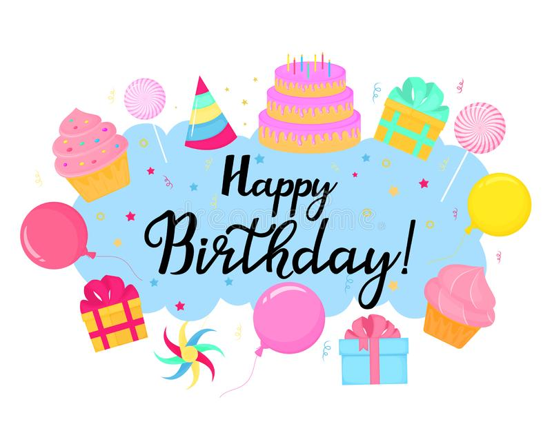 Happy Birthday. Greeting card with sweets and gifts.  vector illustration