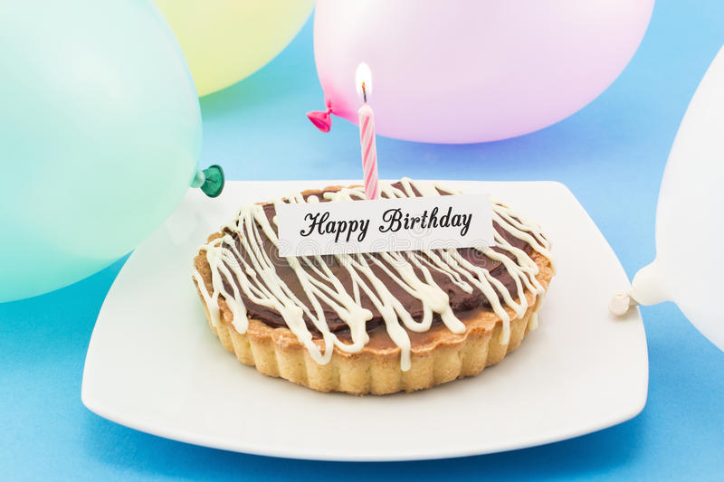 Happy Birthday Greeting Card with Tart, Candle and Balloons stock photos