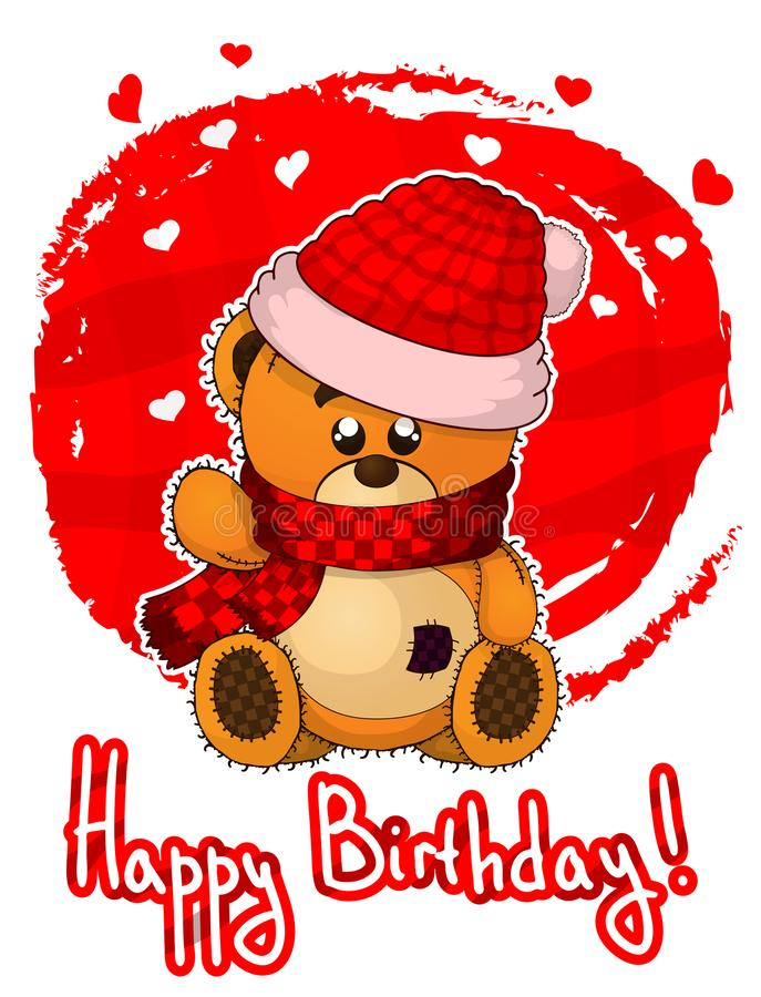Happy birthday greeting card with teddy bear. royalty free illustration