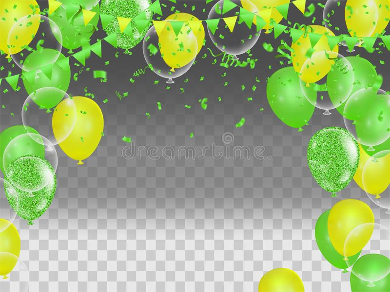 Happy Birthday greeting card template with festive color confetti stars and balloons pattern stock illustration