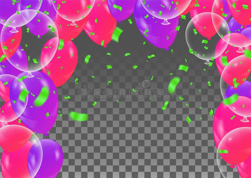 Happy Birthday greeting card template with festive color confetti stars and balloons pattern royalty free illustration