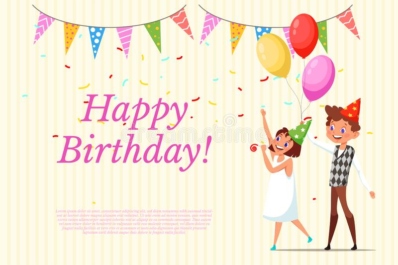 Happy Birthday greeting card template. Child B-day invitation layout with text space. Kids in party hats flat characters. Anniversary celebration web banner stock illustration