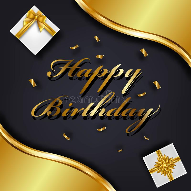 Happy Birthday greeting card template. Luxury gift box with golden bow. Vector Illustration. vector illustration
