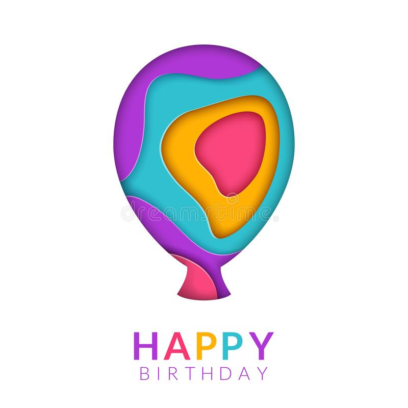 Happy Birthday greeting card template with papercut multi color balloon. Birthday congratulation text. Paper art in a royalty free illustration