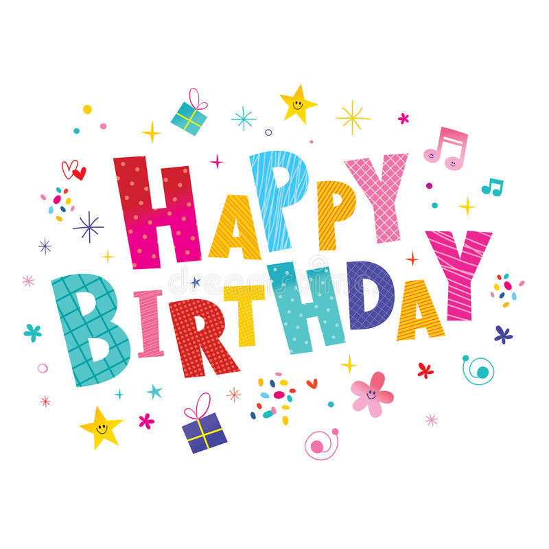 Happy birthday greeting card. With unique lettering vector illustration