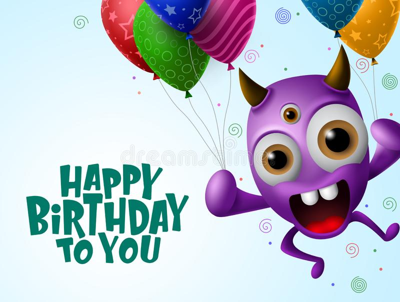 Happy birthday greeting card vector background. Scary monster character holding colorful balloons. In blue background with happy birthday text with empty space stock illustration