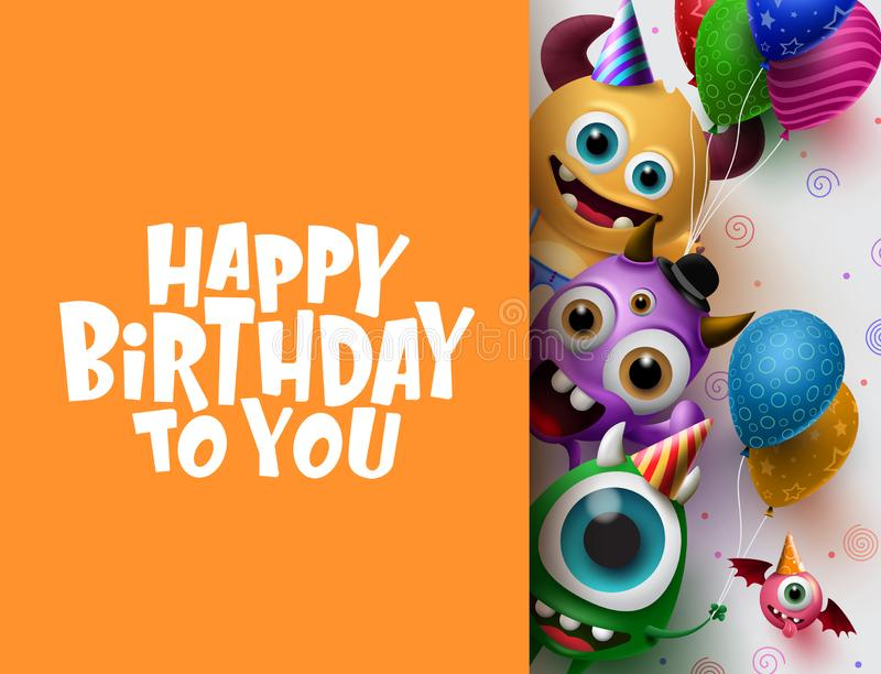 Happy Birthday greeting card vector background template. Cute little monster characters stock illustration