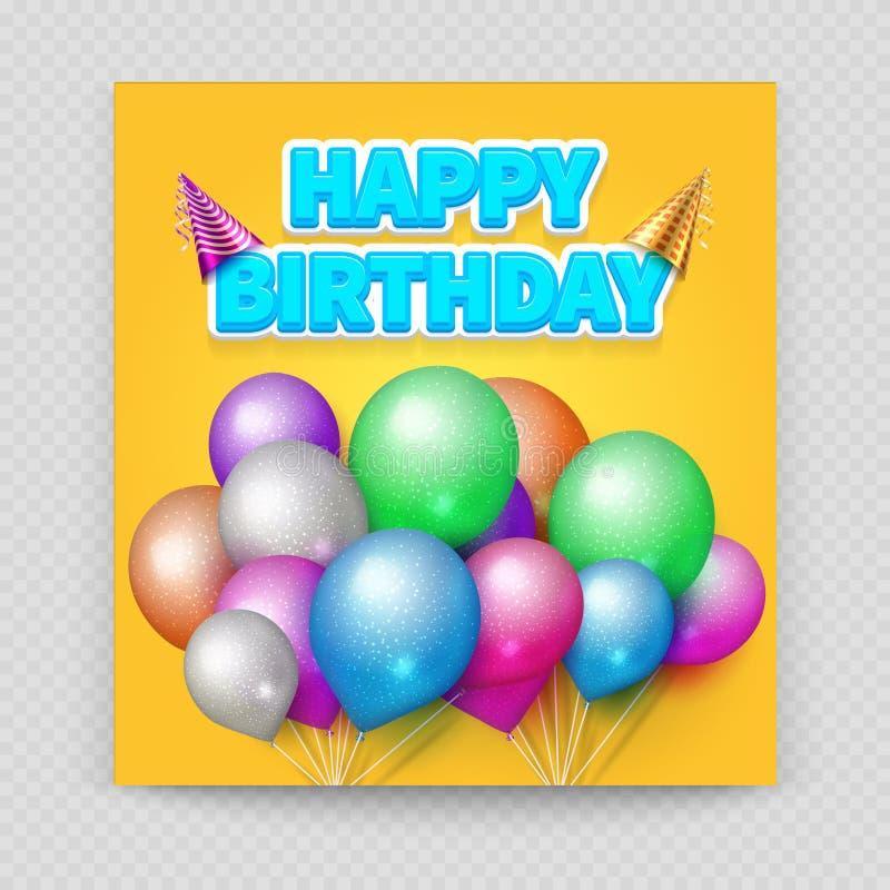 Happy Birthday greeting card vector blank paper balloons stock illustration