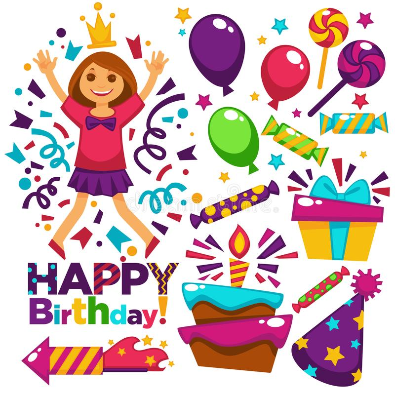 Happy birthday greeting card vector design template of balloons, confetti, candles cake stock illustration