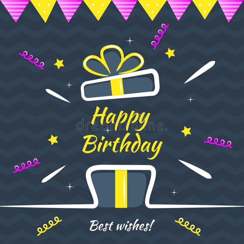Happy Birthday greeting card. Vector design template for birthday congratulatory card, hand drawn style, vector illustration vector illustration