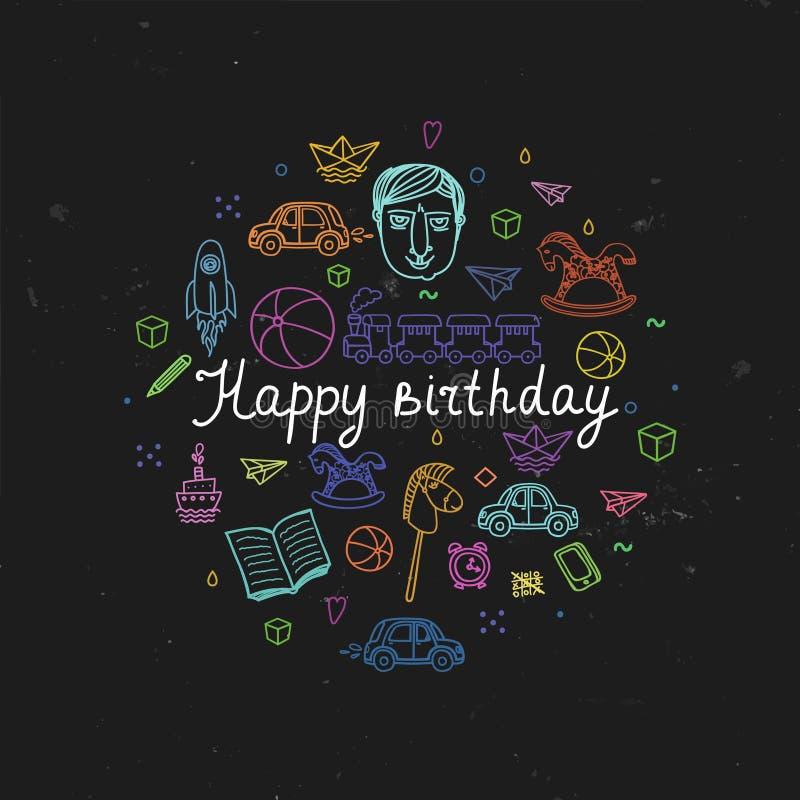 Happy Birthday greeting card - vector illustration. royalty free stock image