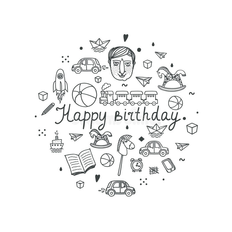 Happy Birthday greeting card - vector illustration. stock images