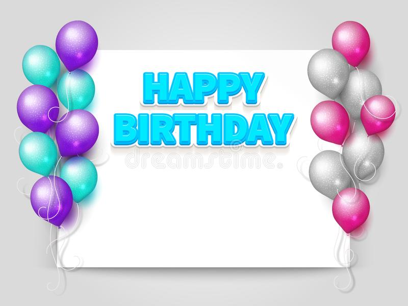 Happy Birthday greeting card with paper sheet royalty free illustration