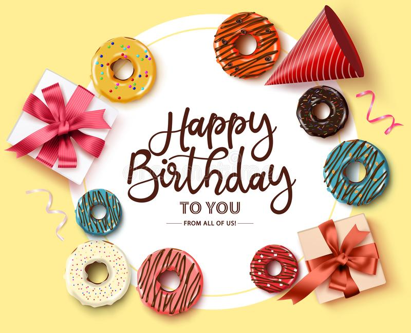 Happy birthday greeting card vector template. Happy birthday text in circle frame with white space royalty free illustration