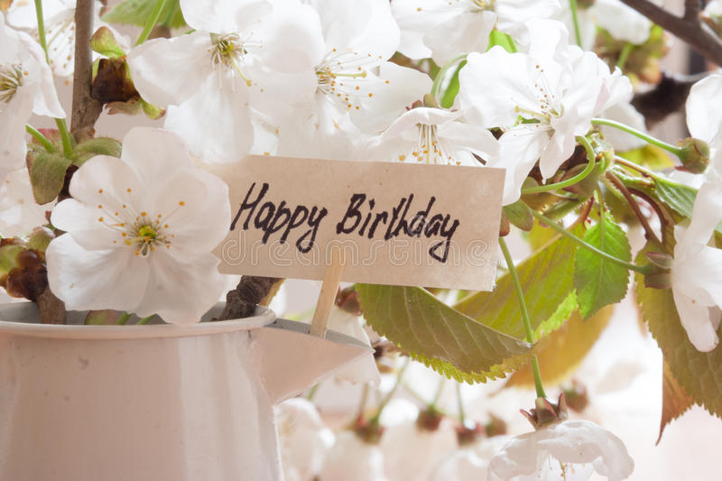 HAPPY BIRTHDAY. Greeting Card. White flowers on a background royalty free stock images