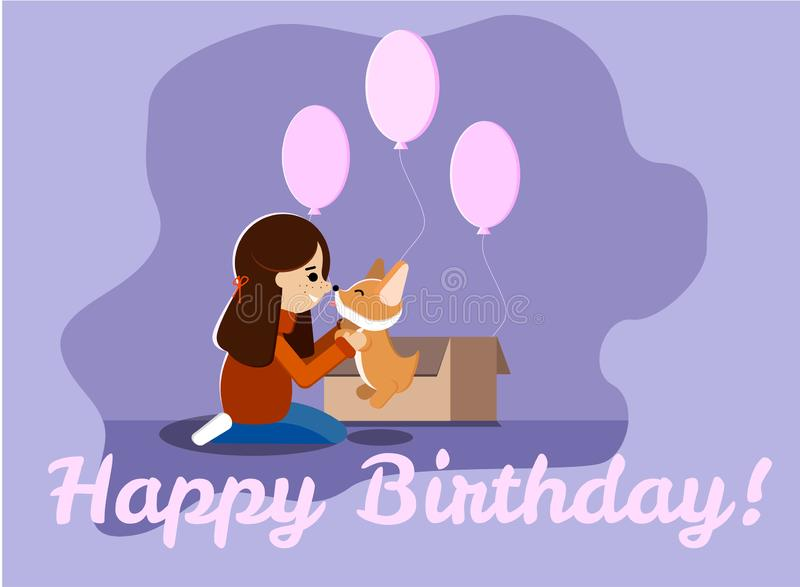 Happy birthday greeting card with a young girl, cute and sweet welsh corgi puppy, pink ballons, box stock illustration
