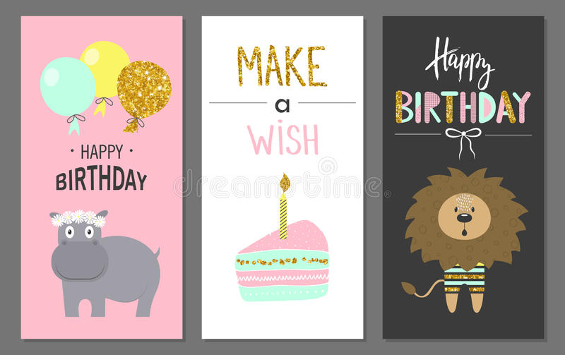 Happy birthday greeting cards and party invitation templates with cute animals. Vector illustration. Hand drawn style royalty free illustration