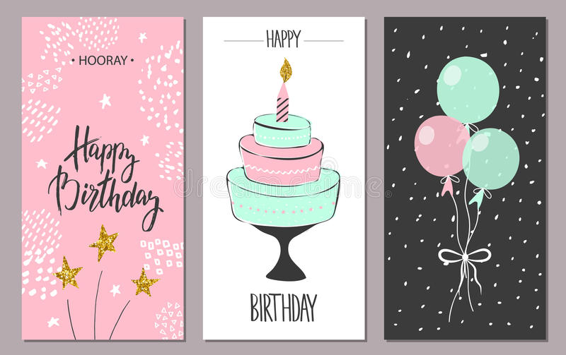 Happy birthday greeting cards and party invitation templates, illustration. Hand drawn style. royalty free illustration
