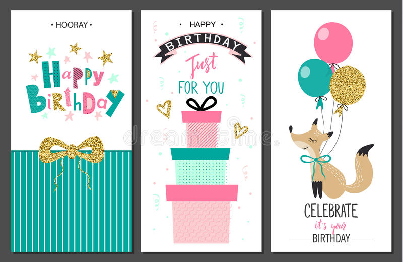 Happy birthday greeting cards and party invitation templates .Vector illustration. Happy birthday greeting cards and party invitation templates .Vector vector illustration
