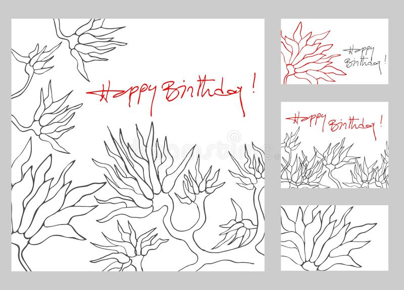 Happy birthday greeting cards set royalty free stock images