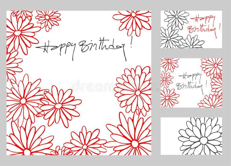 Happy birthday greeting cards set stock photos