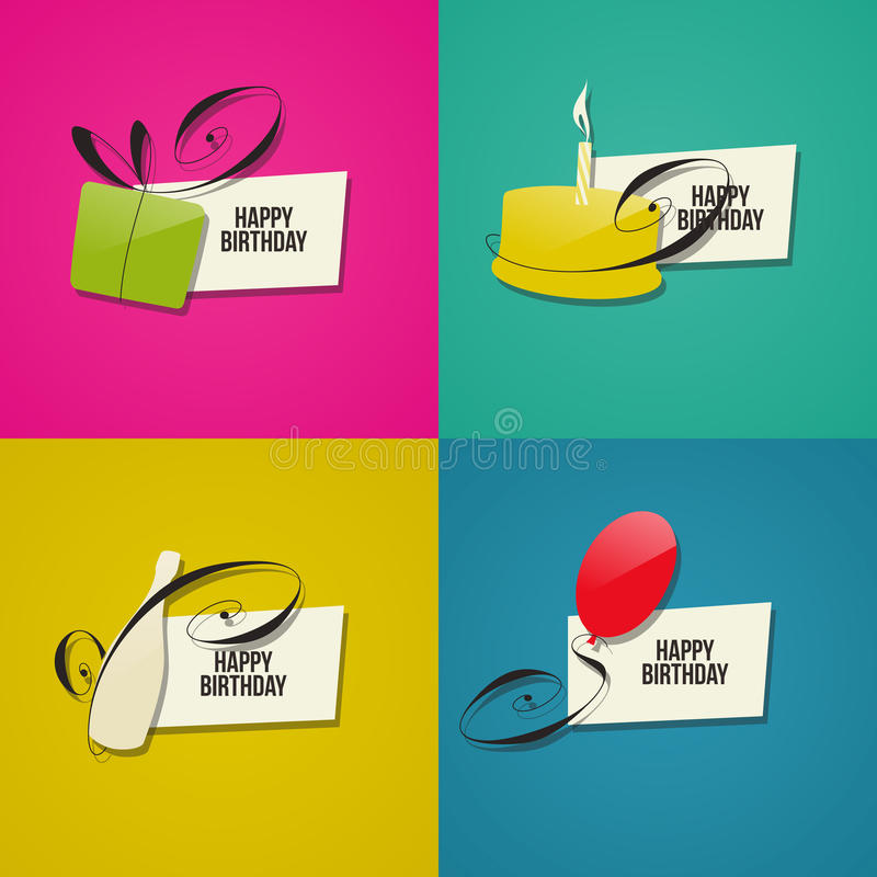 Happy Birthday greeting cards. Set of design elements royalty free illustration