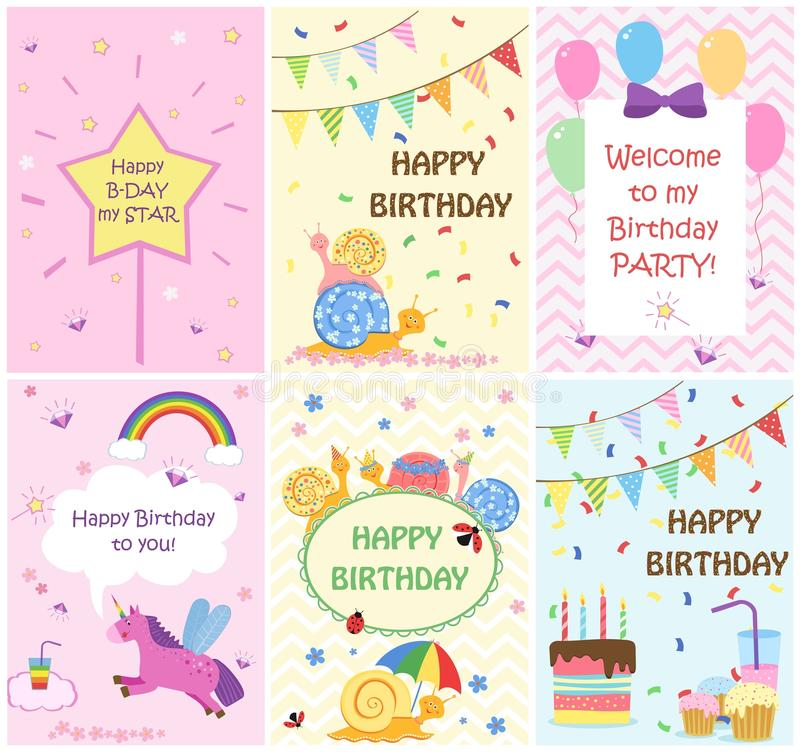 Happy birthday greeting cards templates and party invitations for kids, set of postcards. Vector illustration vector illustration