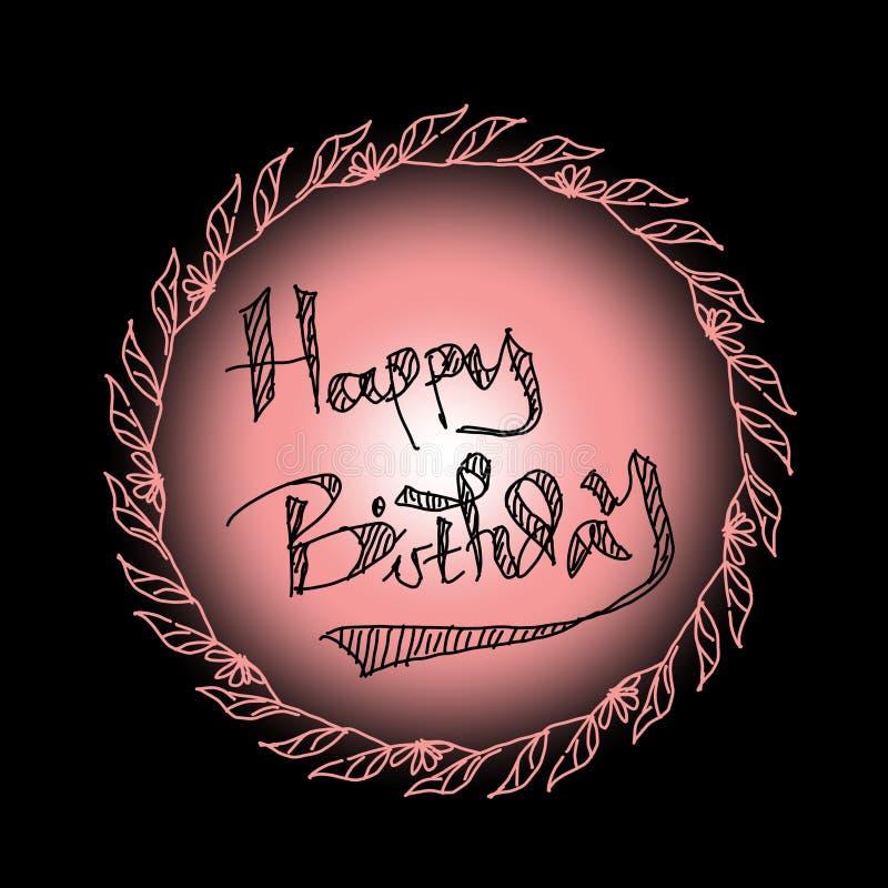Happy birthday greeting. Happy birthday hand drawing. Happy birthday vintage royalty free stock photos