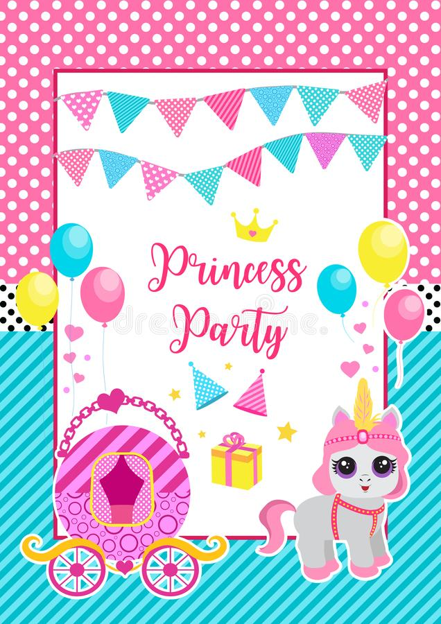 Happy birthday greeting or invitation card for a little princess in lol doll surprise style. Template for your design stock illustration