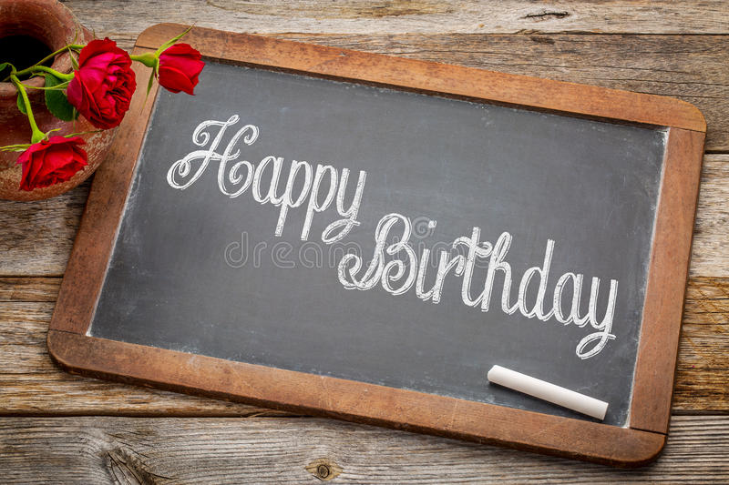 Download Happy Birthday Greetings On Blackboard Stock Image