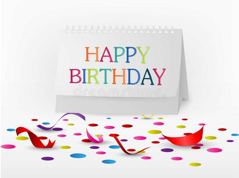 Download Happy Birthday Greetings Card With Note Paper Stock Vector - Image: 40377360