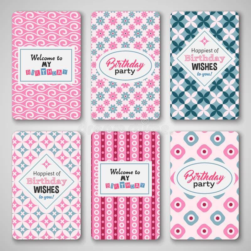 Happy birthday greetings, invitation, cute pattern set stock illustration