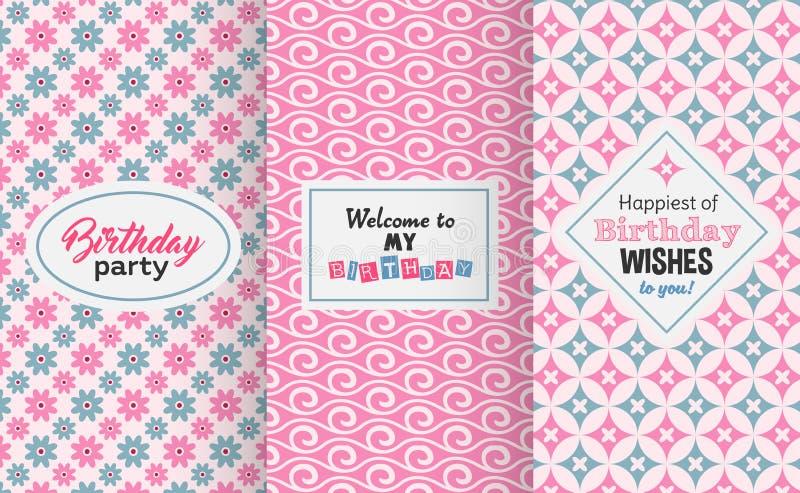 Happy birthday greetings, invitation, cute seamless pattern set stock illustration