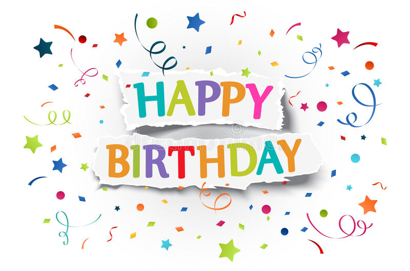 Happy birthday greetings on ripped paper stock illustration