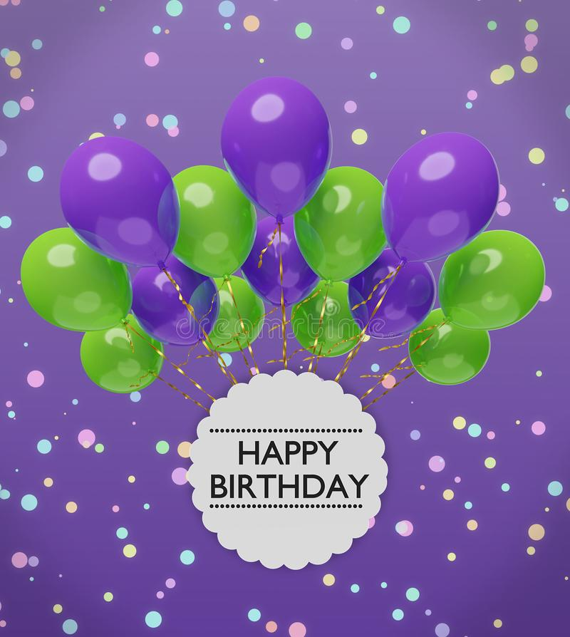 Happy birthday greetings with violet and green balloons 3d rendering stock illustration