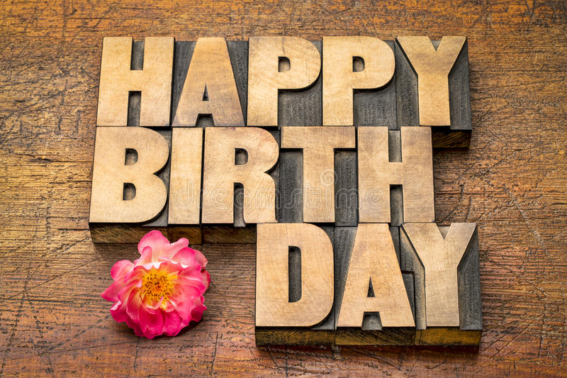 Strange Happy Birthday Greetings In Wood Type Stock Photo Image Personalised Birthday Cards Veneteletsinfo